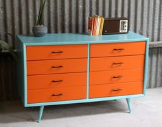 Aqua and Orange vintage alrob chest of drawers
