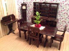 Plasco 9 PIECE DINING ROOM!  Vintage Dollhouse Furniture fits Ideal Maarx Renwal