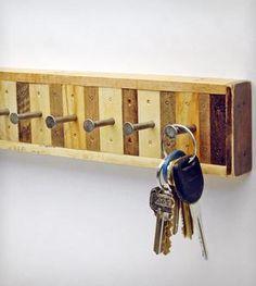 8-Hook Reclaimed Wood Key Holder