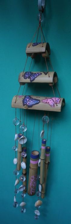 Natural Bamboo Wind Chime with Shells and Beads, Hand Painted, Hand Made