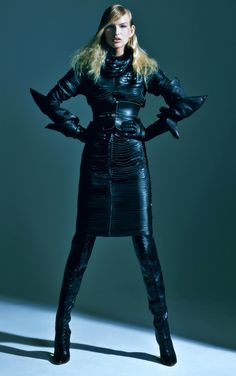 Kristina Vaiciunaite in Trussardi Thigh High Lace Up Boots and Leather Gloves. Love Sex Dance Magazine, Fall 2011