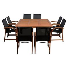 A perfect addition to your sunroom or patio, this eucalyptus wood dining set offers 8 contemporary chairs and a classic table.   Pro...