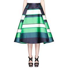 Lanvin Colourblock stripe Duchesse satin flare skirt ($2,225) ❤ liked on Polyvore featuring skirts, green, stripe skirt, circle skirt, skater skirt, lanvin and green striped skirt