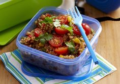 Fried rice salad recipe - By Woman& Day, Fried rice is favourite with adults and children alike. This easy-cook version is great for school and work lunchboxes and picnics. Rice Salad Recipes, Lunch Box Recipes, Home Lunch Ideas, Lunchbox Ideas, Coles Recipe, Cooking Recipes, Healthy Recipes, Healthy Food, Savoury Recipes