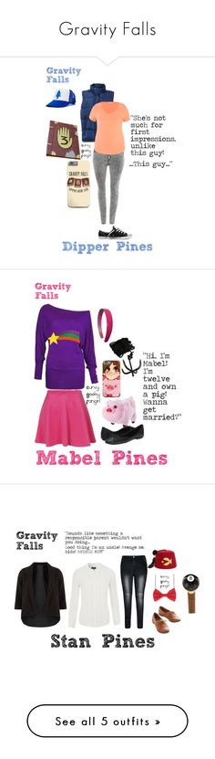 """Gravity Falls"" by curvygeekyfangirl ❤ liked on Polyvore featuring JunaRose, LE3NO, maurices, Converse, women's clothing, women, female, woman, misses and juniors"