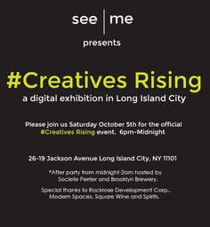 Tonight is the night!! Join us at 6pm at 26-19 Jackson Ave. for a giant projected display of images on the side of our building for See Me's #CreativesRising event. We will be joined by tons of local LIC food and drink establishments, as well as a performance by abstract artists TAXIPLASM. #LIC #CreativesRising Brooklyn Brewery, Long Island City, Community Art, Modern Living, The Neighbourhood, How To Become, Jackson, Join, Artists