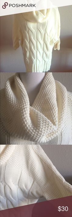 Express Dolman Sweater Cowl Neck Mixed Stitch ONLY WORN ONCE! Mixed stitch cowl neck sweater in cream by Express. Dolman sleeve. Fits true to size. Super comfy and soft, not at all scratchy. Long line, tunic length. Draped scarf neck. 3/4 sleeve. Express Sweaters Cowl & Turtlenecks