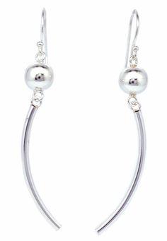 8mm Ball & Cuve Tube Beads Dangle Women Earrings 925 Sterling Silver [ISE0103] #BKGjewelry #DropDangle