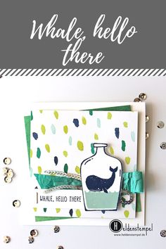 Kleiner Wal gestempelt mit dem Stampin' Up! Set Message in a Bottle Whale hello there Birthday card Simple Karte clean and simple Paper Craft
