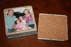 Homemade picture coasters using Tiles.