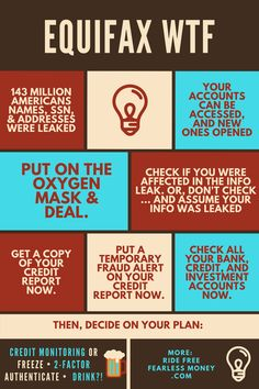 An infographic on what to do now that Equifax has leaked 1 in 2 American's SSNs. #Equifax #Credit #CreditFreeze #CreditMonitoring #CreditReport http://www.ridefreefearlessmoney.com/blog/2017/09/the-equifax-data-leak-part-1-secure-your-credit/
