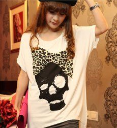 J71315 Hot Sale Leopard Bowknot Skull Printing T-shirt [J71315] - $7.75 : China,Korean,Japan Fashion clothing wholesale and Dropship online-Be the most beautiful Lady