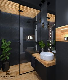 The floating sink and lack of clutter to the room demonstrate Japanese modern in. - The floating sink and lack of clutter to the room demonstrate Japanese modern influence. Bathroom Design Luxury, Modern Bathroom Decor, Modern Bathroom Design, Bathroom Ideas, Colorful Bathroom, Bathroom Black, Bathroom Trends, Simple Bathroom, Bathroom Shelves