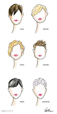My illustrations - The right pixie cut for your face shape:
