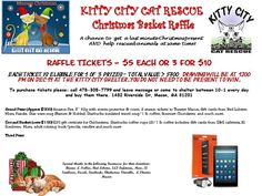 """It's finally HERE!! Our Christmas Raffle is on and tickets are now on sale. GRAND PRIZE is a Fire HD 8 Tablet, 8"""" HD Display, Wi-Fi, 32 GB with cover/screen protector AND a basket full of goodies! Second place is a basket full of goodies such as gift cards, Gourmet Chocolates and lots of other wonderful STUFF. Third place prize will be announced soon. Tickets are $5 each or 3 for $10. To purchase call us (478)305-7799, send us a private message OR come by the shelter any day between 10-1…"""