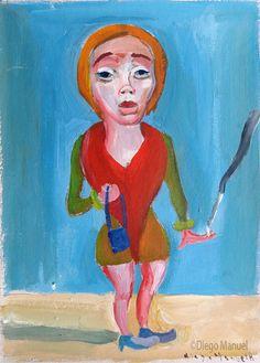 """Chica fumando 4"", gouache sobre papel, 25x 35 cm., 1998"