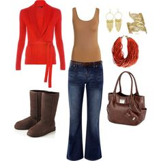 coral & brown