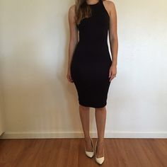 Black Sleeveless Midi Dress Black Sleeveless Midi Dress. Brand new. Never worn. No flaws. Available in S-M-L. 87% polyester, 13% spandex. True to size. Model is wearing a small for reference. 15% discount on all 3+ item bundles made with the bundle feature. No trades. No offers will be considered unless you use the make me an offer feature.    👉 Please follow 📱 Instagram: BossyJoc3y Dresses Midi