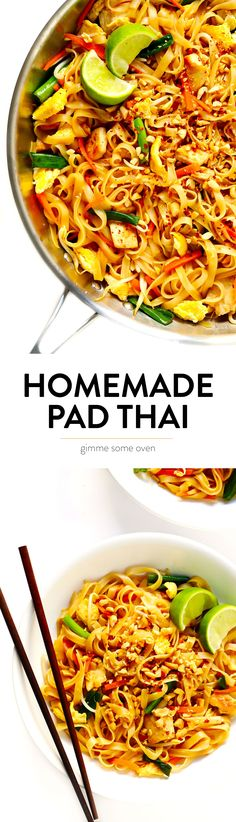 The BEST Pad Thai recipe! It's easy to make with either chicken, beef, pork, shrimp or vegetarian (with or without tofu), and tastes even better than the restaurant version! A delicious healthy dinner Thai Recipes, Healthy Dinner Recipes, Asian Recipes, Vegetarian Recipes, Chicken Recipes, Cooking Recipes, Vegetarian Chicken, Healthy Chicken, Pad Thai Receta