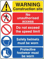 Construction Site Warning sign image Construction Signs, Site Sign, Sign Image, Safety Helmet, Sign Printing, Warning Signs, Health And Safety, Assessment, At Least