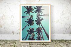 Palm Tree Print, Printable Wall Art, Tropical Wall Print, Coconut Tree Print, Tropical Home Decor, Instant Download, Palm Tree Sky, Wall Art