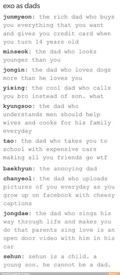 Awee Kyungsoo I expected it to say something about being the father of all underworld creatures or something but aweee