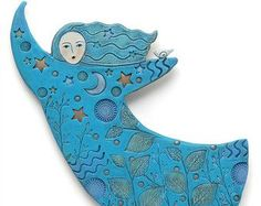 Moon Dancer, Handmade Ceramic, Home Decor, wall art, stars, moon, bird