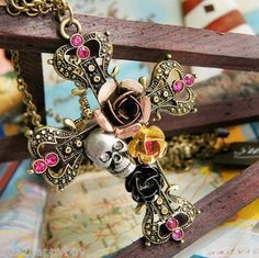 New Fashion Flower Pirate Skull Cross Hollow Out Sweater Chain Pendant Necklace