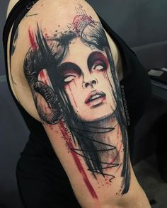 Cool demon tattoo on shoulderYou can find Demon tattoo and more on our website.Cool demon tattoo on shoulder Bild Tattoos, Sexy Tattoos, Body Art Tattoos, Tattoos For Women, Sleeve Tattoos, Gypsy Tattoo Sleeve, Creepy Tattoos, Tatoos, Demon Tattoo