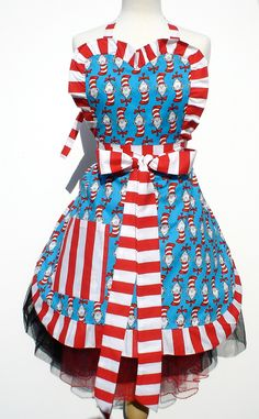 Classic Dr. Seuss The Cat in the Hat  Full Retro Inspired Apron FREE SHIPPING. $33.00, via Etsy.