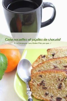 La-Compagnie-Sans-Gluten, un blog-sans-gluten-et-sans-lait !: Cake noisettes et pépites de chocolat, sans gluten... Sin Gluten, Blog Sans Gluten, Lactose Free, Vegan Gluten Free, Patisserie Sans Gluten, Foods With Gluten, Coco, French Toast, Menu