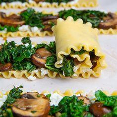 Mushroom and Kale Lasagna Roll Ups