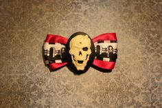 Creepy Spider Skull Hair Bow  Pink by RiotGearHairBows on Etsy, $8.00