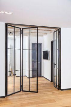 Steel – Glass – Doors – Steel loft doors – Stahl Glas Türen – # G… - Modern Balcony Furniture, Bathroom Doors, Steel Doors, Interior Barn Doors, Interior Folding Doors, Sliding Glass Door, Door Design, Modern Bathroom Design, Minimal Bathroom