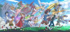 Digimon Adventure - The Eight DigiDestined and their Digimon: Joe and Zudomon, Izzy (Koushiro) and Megakabuterimon, Mimi and Lillymon, Sora and Garudamon, Kari (Hikari) and Angewomon, Tai (Taichi) and Wargreymon, Matt (Yamato) and Metalgarurumon, T.K. (Takeru) and MagnaAngemon (HolyAngemon)