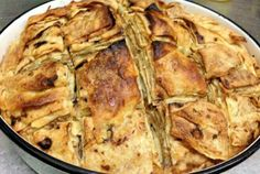 """This is a traditional Macedonian pie prepared from special kind of crepes which we call """"pitulici"""". It is usually prepared with white cheese. Albanian Recipes, Lithuanian Recipes, Dinosaur Food, Food Huggers, Macedonian Food, Decadent Food, Feta Salat, Food Portions, Scandinavian Food"""
