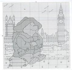 Gallery.ru / Photo # 1 - Bear in London - DELERJE Cross Stitch Uk, Celtic Cross Stitch, Cross Stitch Animals, Cross Stitch Charts, Cross Stitch Designs, Cross Stitch Patterns, Stitch Character, Kid Character, Ours Paddington