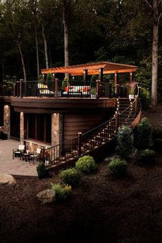 Love this outdoor living space! Great stairway with great lighting!