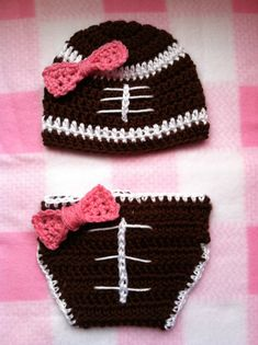 Baby Girl Football Crochet Hat And Diaper Cover. Wish I could make it. Turn those pink bows orange :)