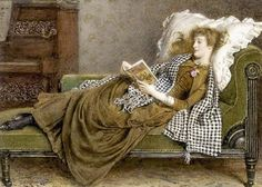 A Young Lady Reading in an Interior - George Goodwin Kilburne.