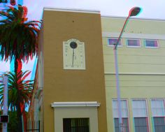 """475 14th Street - Miami Beach Senior High School Addition - Built: 1938 - Style: Art Deco / Mediterranean Revival - Google """"anaglyph glasses"""" to view in 3D"""