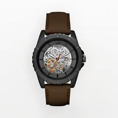 Relic Stainless Steel Black Ion Automatic Leather Skeleton Watch - ZR12003 - Men - John's anniversary gift 2013