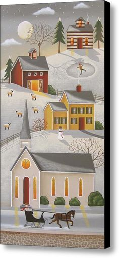 Country Sleigh Ride Canvas Print / Canvas Art By Mary Charles