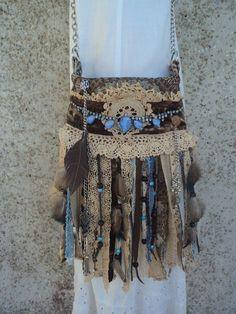 Handmade Boho Cross Body Bag Hippie Tribal Western Fringe Purse Lace tmyers #Handmade #MessengerCrossBody
