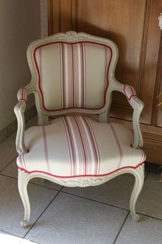 "Fauteuil ""Louis XV"" Patiné Wingback Chair Covers, Armchair, Stripes Design, Table And Chairs, Decoration, Slipcovers, Home Furniture, Upholstery, Shabby"