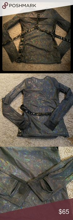 """HTF Lip Service oil spill holographic shirt M Long discontinued and honestly one of my favorites, this top shows slightly more wear than most of the pieces in my closet, largely due to the nature of the material. Smoke free cat friendly home. Prices firm, please bundle for discount. Measures 16"""" pit to pit, 14"""" at waist 5""""at bicep. This line was notoriously small!  No trades, lowballers blocked. Lip Service Tops Tees - Long Sleeve"""