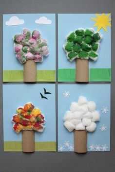 Four Season Tree Help kids learn about the changing of the seasons with this clever four-season tree craft. Its easy to do using materials you likely already own. The post Four Season Tree was featured on Fun Family Crafts. Recycled Crafts Kids, Family Crafts, Paper Crafts For Kids, Baby Crafts, Toddler Crafts, Preschool Crafts, Easter Crafts, Seasons Activities, Activities For Kids