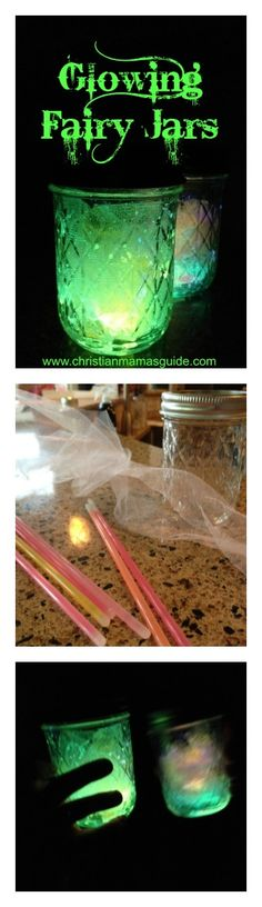 Summer activity idea: Make glowing fairy jars out of glow sticks and canning jars and light up your patio (or your kid's bedroom) on a warm summer night.