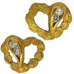 Alaskan Gold Nuggets and double Diamond Hearts of Love Earrings - posts. Alaskan Gold Rush Fine Jewelry - Fairbanks, Alaska - Call for price and availability - 907-456-4991