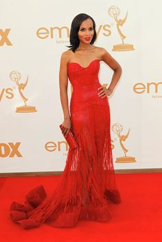 Lady in Red--->Kerry Washington attends the 2011 Emmy Awards Star Fashion, Fashion News, Sexy Dresses, Tie Styles, Red Carpet Looks, Red Carpet Fashion, Playing Dress Up, Kerry Washington, Lady In Red